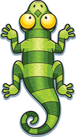 A cartoon illustration of a green lizard with stripes.