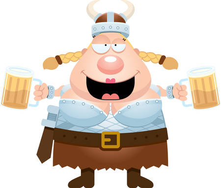 valkyrie: A cartoon illustration of a Valkyrie drinking beer. Illustration