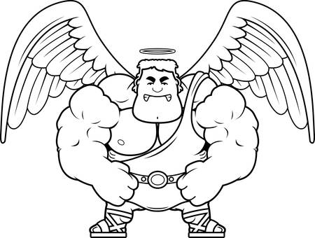 angry angel: A cartoon illustration of a muscular angel looking angry. Illustration