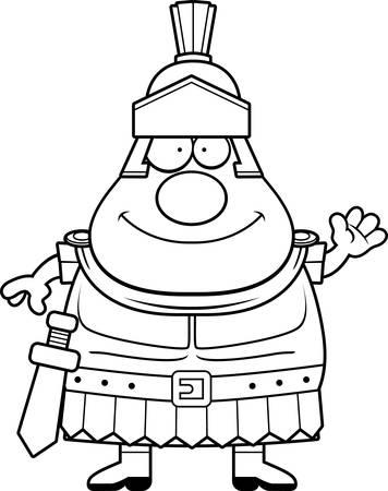 A cartoon illustration of a Roman Centurion waving.
