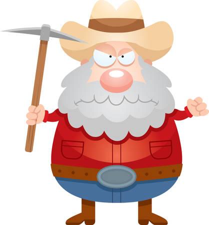 Een cartoon illustratie van een mijnwerker op zoek boos.
