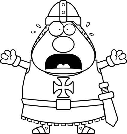 templar: A cartoon illustration of a Templar knight looking scared.