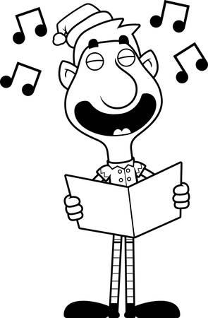 caroling: An illustration of a cartoon Christmas elf singing carols.