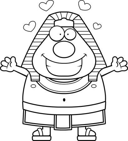 A cartoon illustration of an Egyptian Pharaoh ready to give a hug.