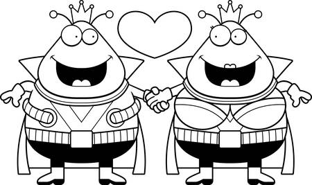 couple holding hands: A cartoon illustration of a Martian couple holding hands and in love.
