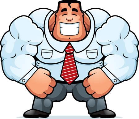 A cartoon illustration of a muscular businessman smiling.