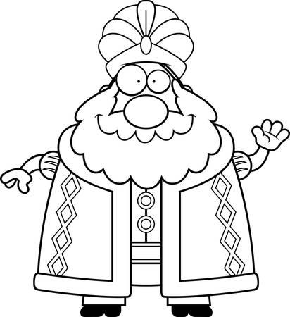 A cartoon illustration of a sultan waving.