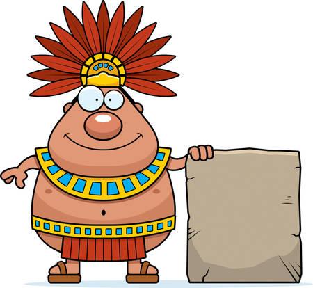 Une illustration de bande dessinée d'un roi aztèque avec un signe.