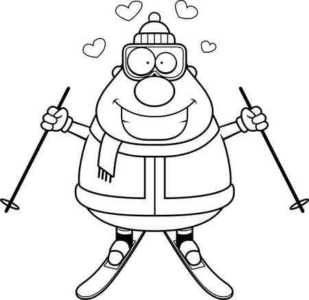 A cartoon illustration of a skiing man with hearts. Illustration