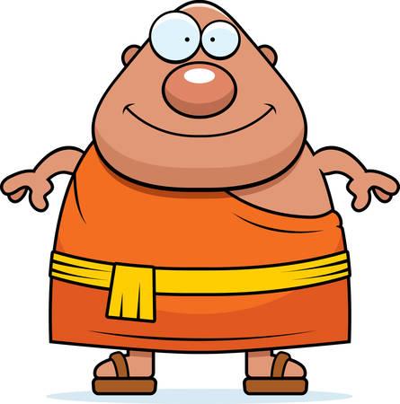 buddhist monk: A cartoon illustration of a Buddhist monk looking happy.