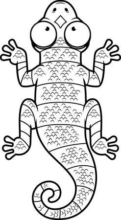 newt: A cartoon illustration of a black and white lizard with stripes.