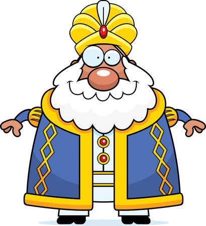 A cartoon illustration of a sultan looking happy. Illustration