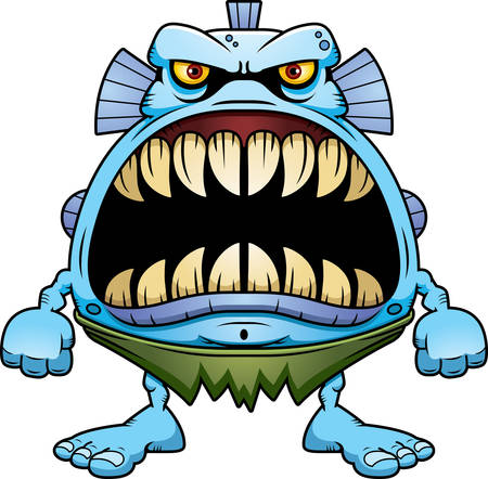 A cartoon illustration of a fish creature with a big mouth full of sharp teeth.