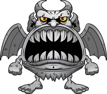 A cartoon illustration of a gargoyle with a big mouth full of sharp teeth. Illustration