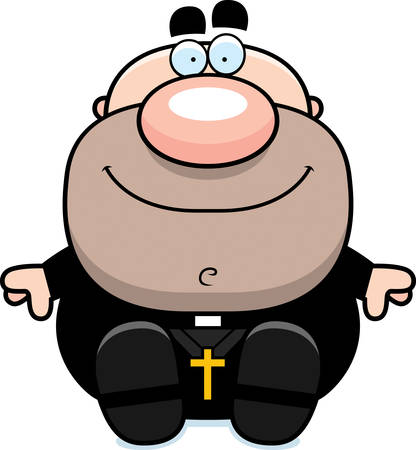 A cartoon illustration of a priest sitting.