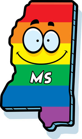 ms: A cartoon illustration of the state of Mississippi smiling with rainbow flag colors.