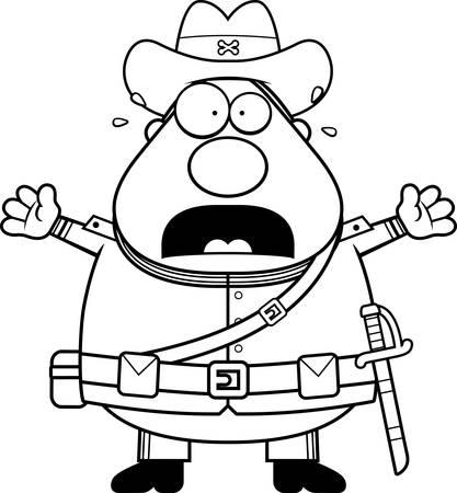civil war: A cartoon illustration of a Civil War Confederate soldier looking scared.