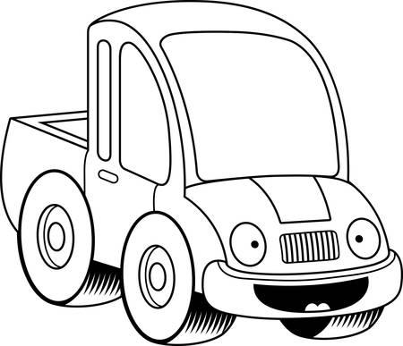 cami�n de reparto: Una ilustraci�n de dibujos animados de una camioneta sonriendo. Vectores