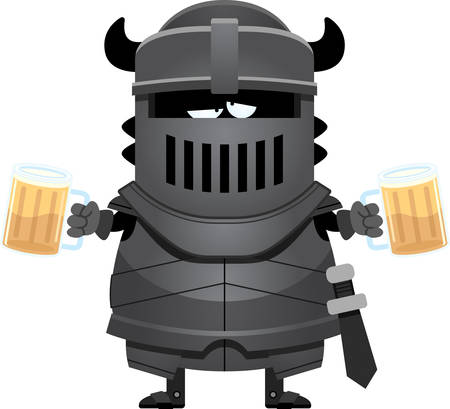 drinking drunk: A cartoon illustration of the black knight looking drunk on beer.