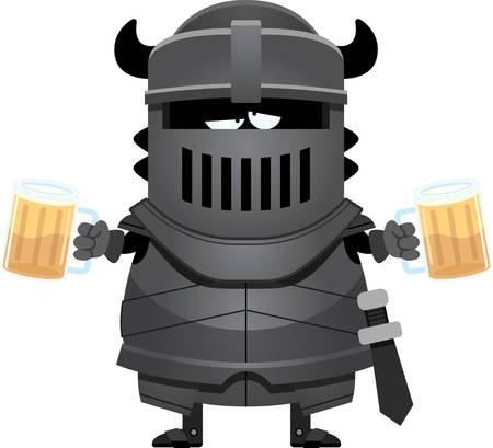 cartoon warrior: A cartoon illustration of the black knight looking drunk on beer.