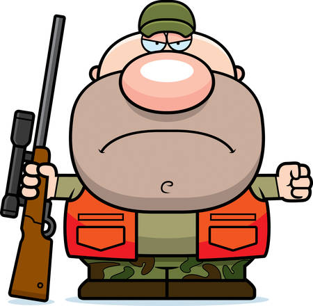 A cartoon illustration of a hunter with an angry expression.