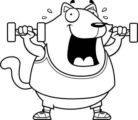 A cartoon illustration of a cat lifting dumbbell weights. Ilustrace
