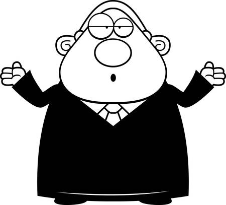 A cartoon illustration of a judge looking confused. Ilustrace