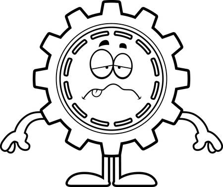 nauseous: A cartoon illustration of a gear looking sick.