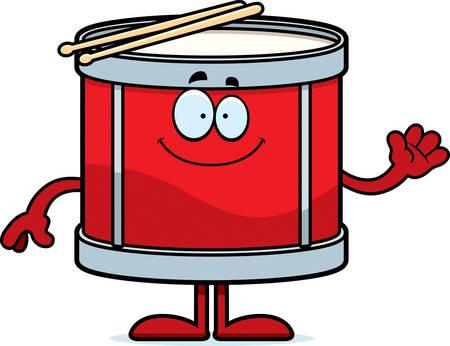 A cartoon illustration of a drum waving. Ilustrace