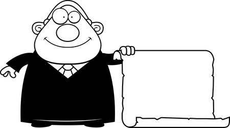 A cartoon illustration of a judge with a sign. Banco de Imagens - 44517211