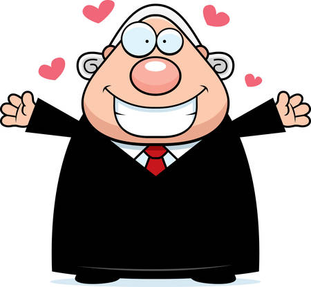 A cartoon illustration of a judge ready to give a hug.