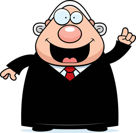 barrister: A cartoon illustration of a judge with an idea.