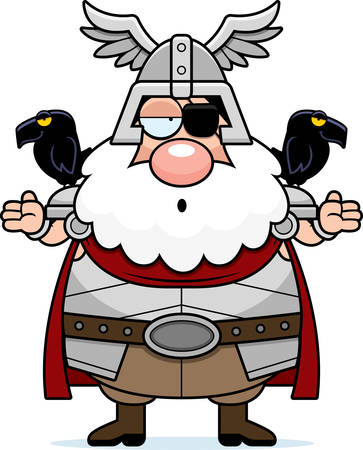 A cartoon illustration of Odin looking confused. Illustration