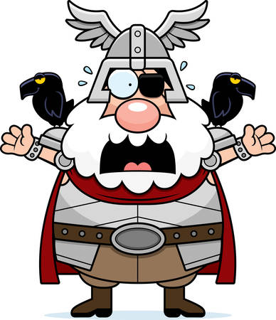 odin: A cartoon illustration of Odin looking scared.