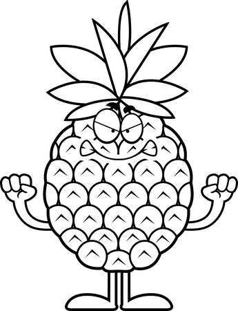 A cartoon illustration of a pineapple looking angry. Фото со стока - 44516751