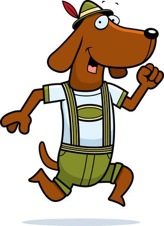 dachshund: A cartoon dachshund wearing lederhosen and running.