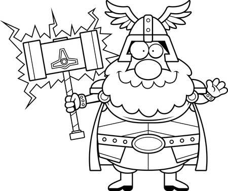 A cartoon illustration of Thor waving.