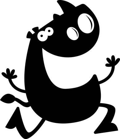 siluetas de animales: Una silueta de dibujos animados de un rinoceronte en marcha. Vectores