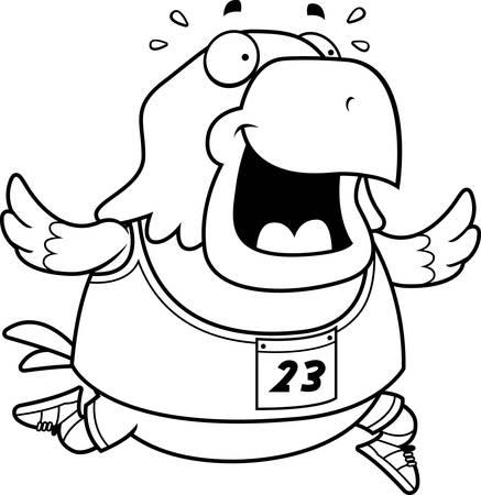 cartoon eagle: A happy cartoon eagle running in a race.