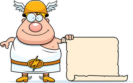 A cartoon illustration of the Greek god Hermes with a sign.