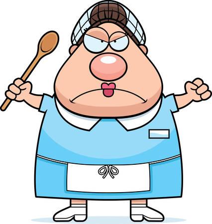 mujer enojada: Un ejemplo de la historieta de una señora del almuerzo que parece enojado.