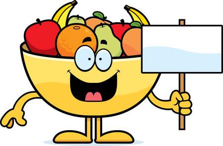 Een beeldverhaalillustratie van een kom fruit die een teken houdt.