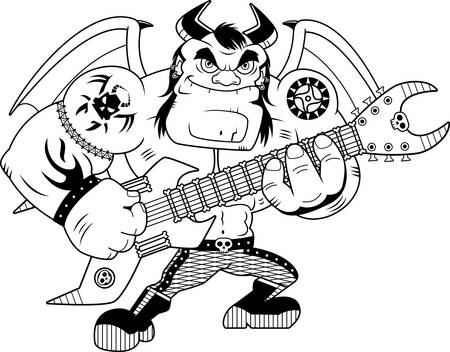 heavy metal: A cartoon illustration of a heavy metal demon playing guitar.