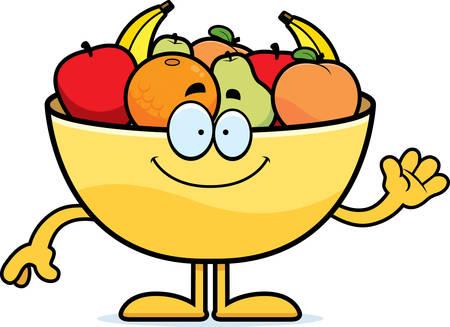 A cartoon illustration of a bowl of fruit waving.