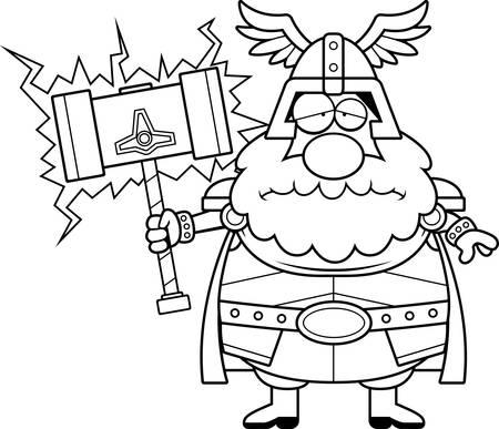 A cartoon illustration of Thor looking sad.