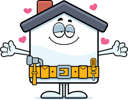 A cartoon illustration of a home improvement house ready to give a hug.