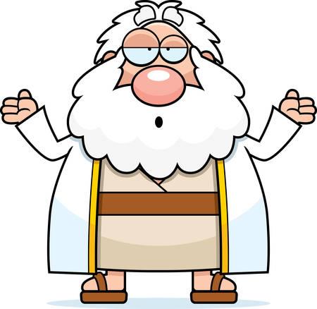 stupid: A cartoon illustration of Moses looking confused.