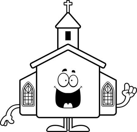 A cartoon illustration of a church with an idea.