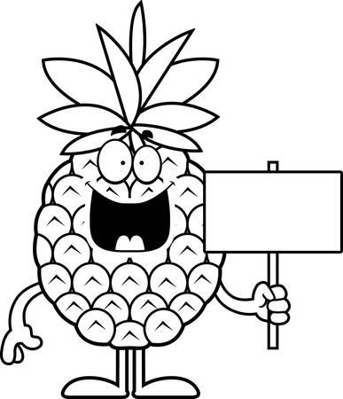 A cartoon illustration of a pineapple holding a sign. Illusztráció