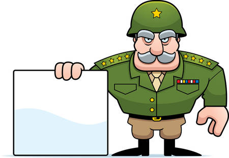 general: An illustration of a cartoon military general with a blank sign. Illustration